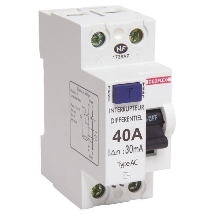 Intensité : 40 A - Type AC - 2 modules - Sensibilité : 30 mA - Connexion : borne à vis.COMPOSANT DE TABLEAU ELECTRIQUE - MODULE