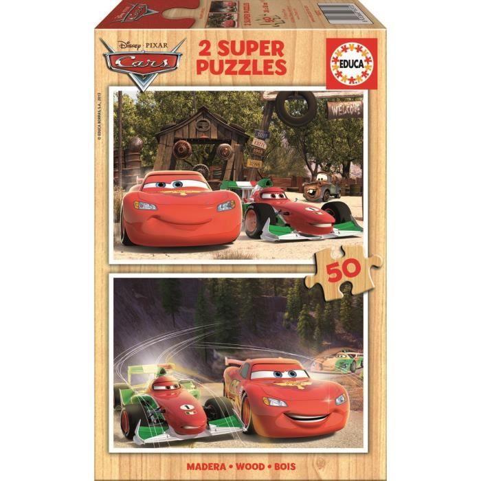 CARS Puzzle en Bois 2x50 Pièces - Garçon - A partir de 4 ans - Livré à l'unitéPUZZLE