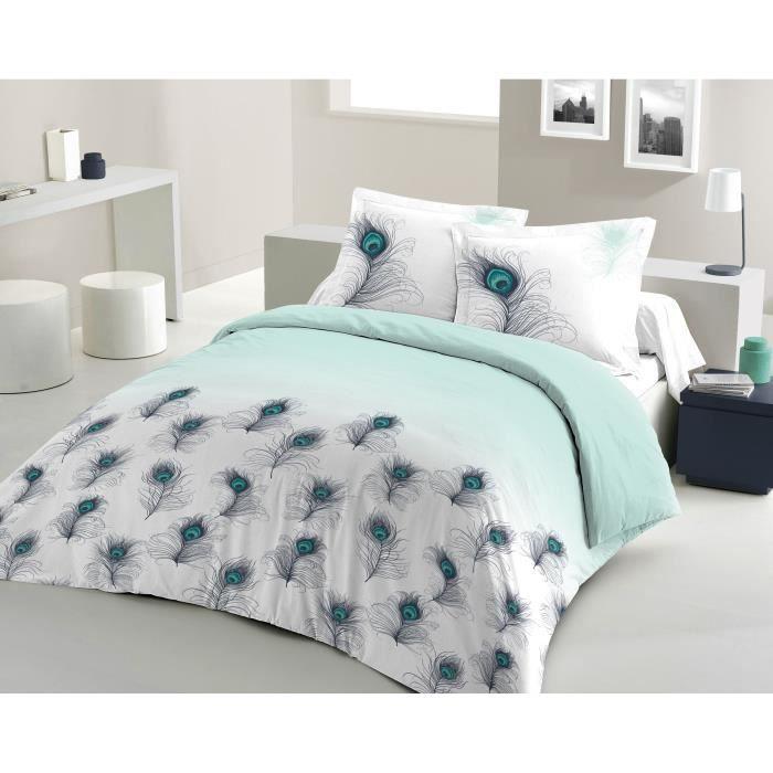 Matière : 100% coton tissé serré 54 fils - Dimensons : 240x260/ 65x65 cm - Coloris : blanc, vert et bleuPARURE DE COUETTE