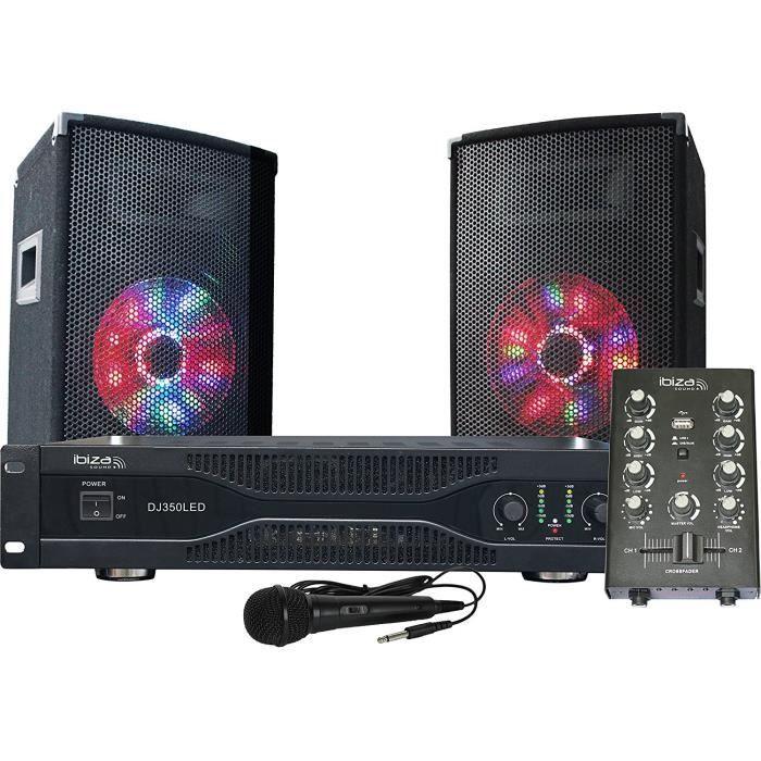 IBIZA DJ350LED Kit de sonorisation Disco avec animation lumineuse à LED