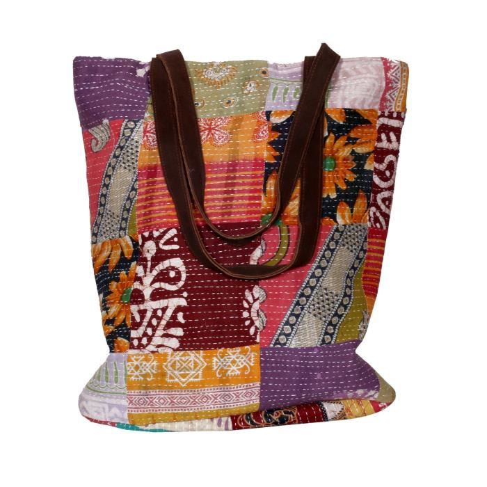femmes vintage soie kantha travailler en cuir poignée sacs à bandoulière à la main TOWUM