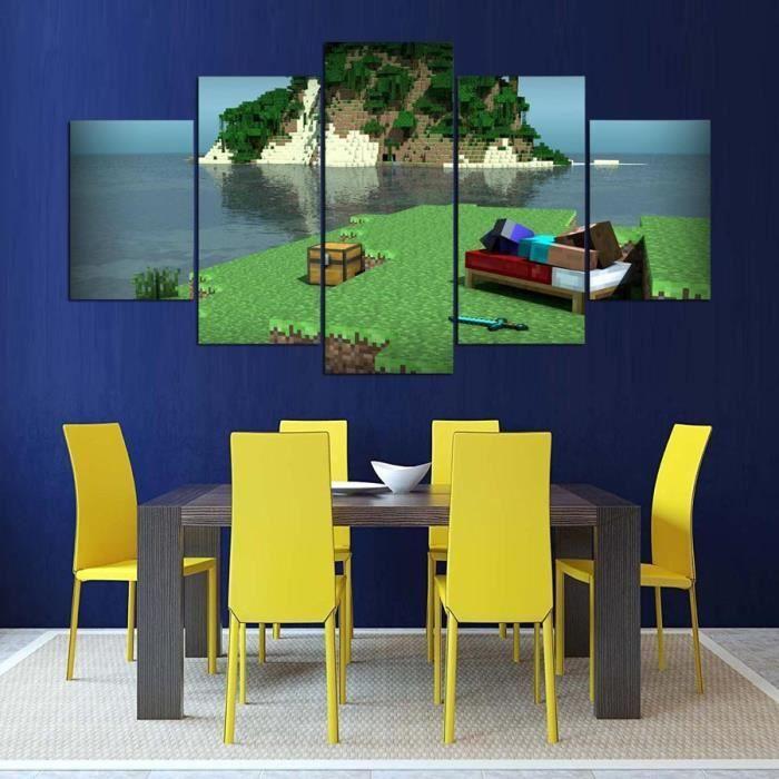 Panneau De 5 Panneaux Décor De Maison Pour Salon Minecraft Hd