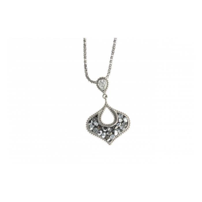 Collier en argent rhodié - cristal rock - 45 cm