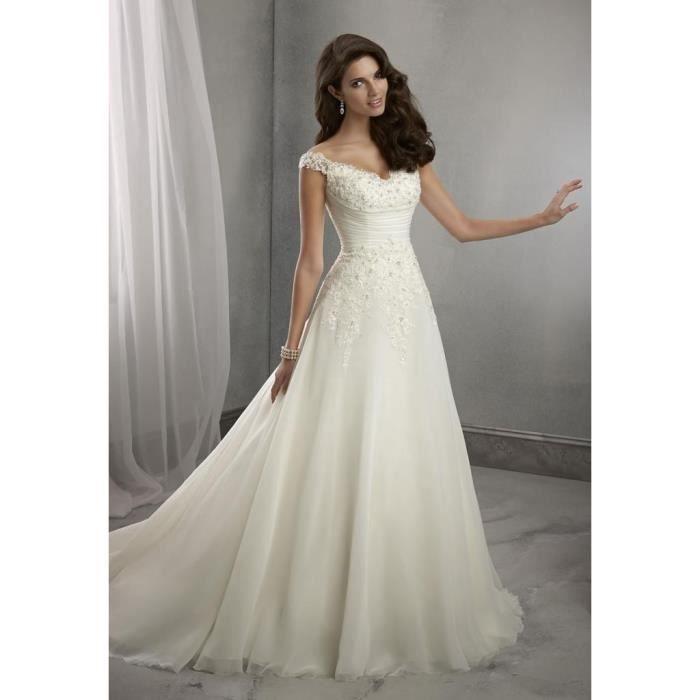robe de mari e blanche ou ivoire tailles du 34 au 44. Black Bedroom Furniture Sets. Home Design Ideas
