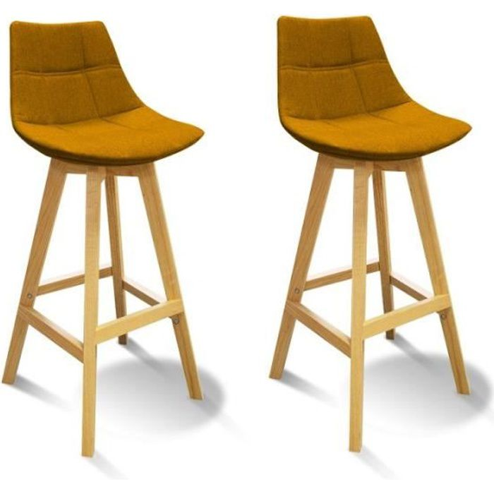 Lot 2 Tabourets De Bar Jaune Style Scandinave