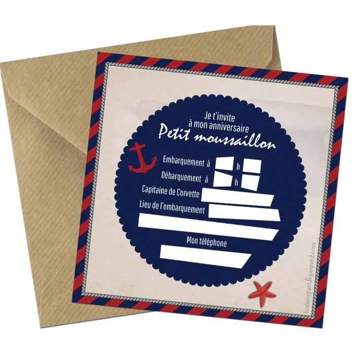 Invitation Anniversaire Theme Marin Lot 5 Cartes Achat Vente