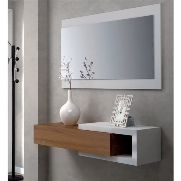 console salle de bain 1tiroir miroir blanc noyer achat vente colonne armoire sdb console. Black Bedroom Furniture Sets. Home Design Ideas