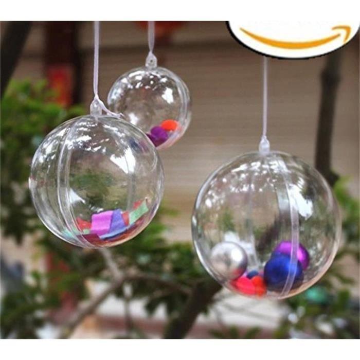 Boule Decoration.4 X Boule De Décoration Transparentes En Plastique à Remplir Pour Noël Pâque Anniversaire Diamètre De 13 5 Cm