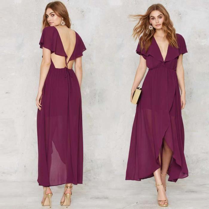 couleur pure backless sexy en mousseline de soie robe longue de la femme