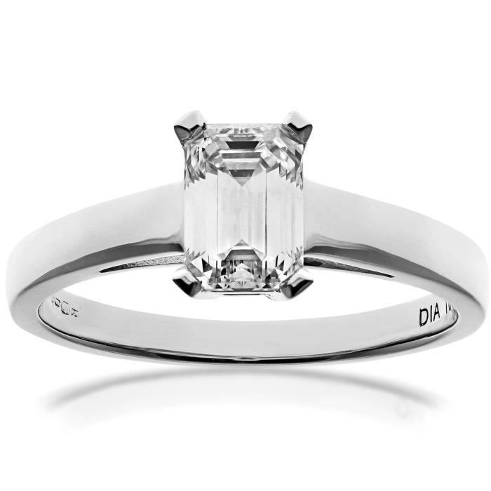 Revoni Bague Solitaire Diamant Or Blanc 750° Femme: Poids du diamant : 1 ct - CD-PR0914918KW-J