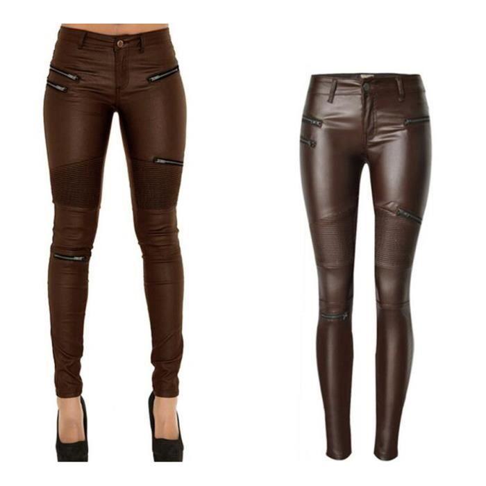 c1805d9db0 Nouveau Modèles de Moto Imitation Cuir Jeans Femme Européen ...