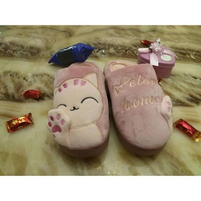 2017 amoureux d'automne et d'hiver chat dessin animé pantoufles de coton mignon à la maison
