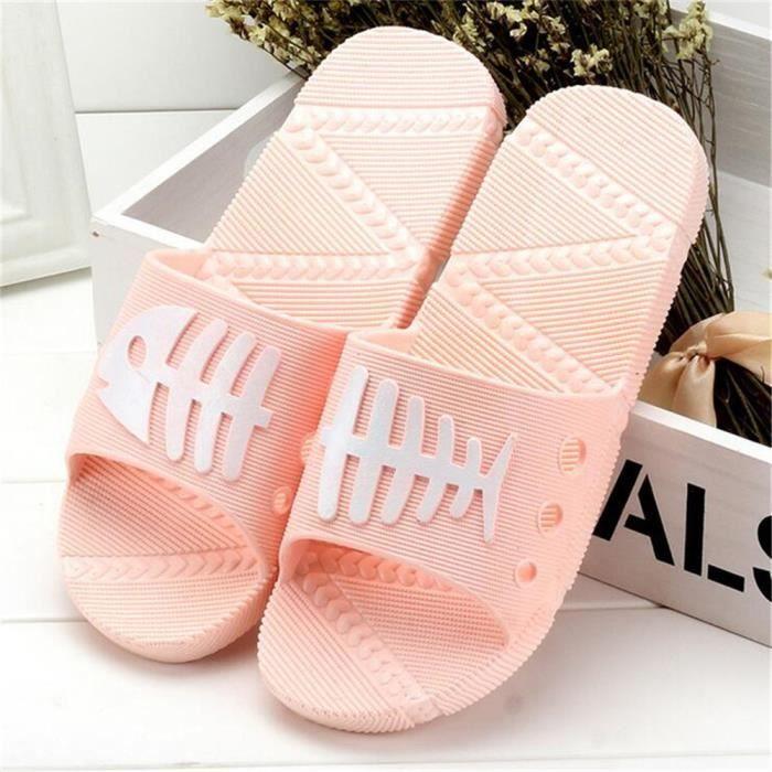 pantoufle salle de bain Antidérapant Confortable pantoufles femmes chaussure femme marque de luxe sandales d'é dssx127orange37 aJaFEiONJE