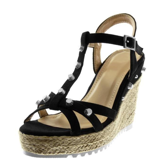 Angkorly - Chaussure Mode Sandale Mule lanière cheville salomés plateforme femme clouté multi-bride corde Talon compensé plateforme