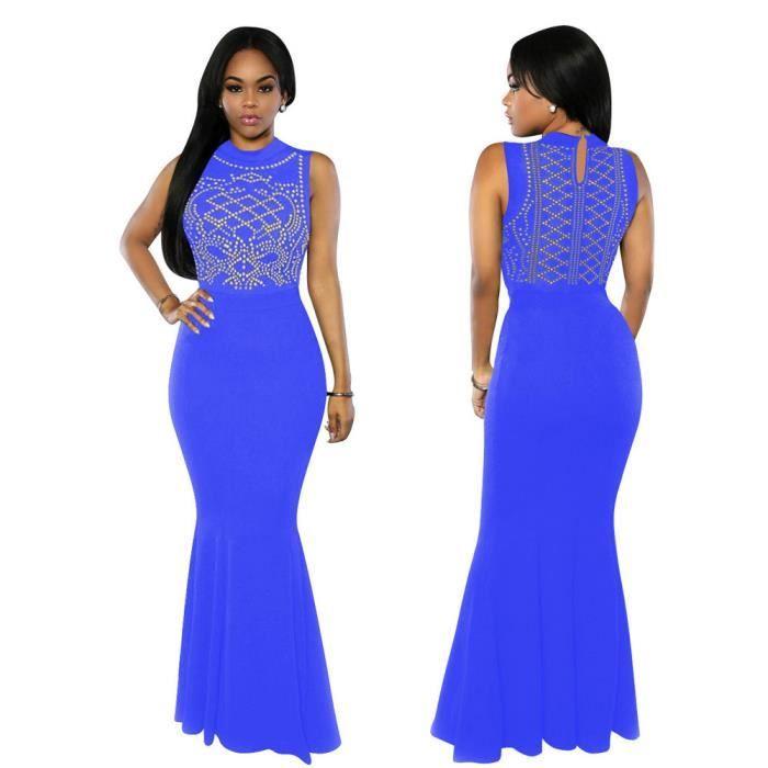 2b052294080 Longue robe de soirée sans manches de la mode des femmes de la mode robe  robe Bleu
