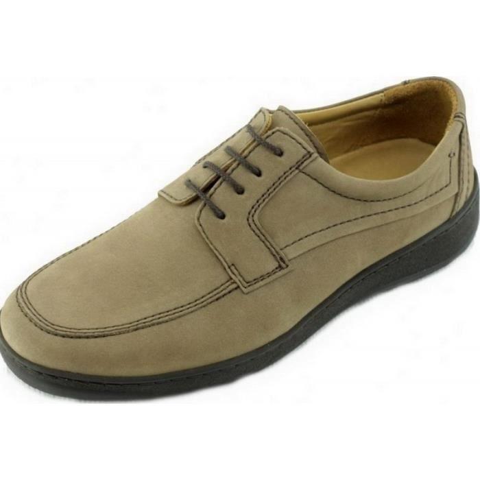 Foot – Derby à lacet grande largeur souple flexible confortable chaussures  largeur plus Homme pieds sensibles cuir nubuck beige 3f0f10f3fab7