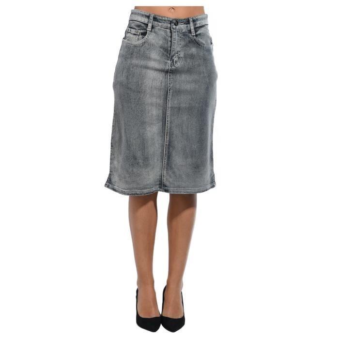 69ac2c2f9f8353 Jupe en jeans genou femme - Achat / Vente pas cher