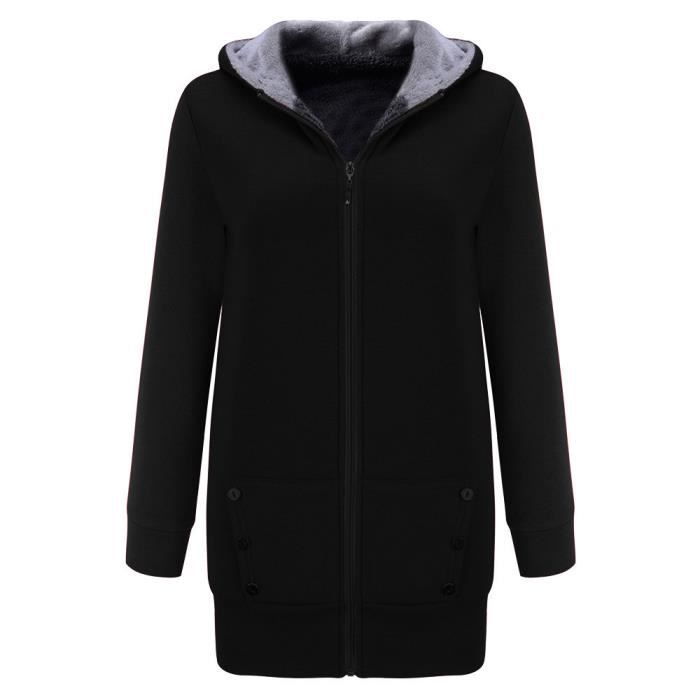 noir Capuche Velours Manteau Veste Épais Plus Chaud Femmes Outwear Hiver Manteau Sweat YSpxP