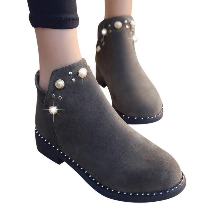 Zipper Bottes Plates gris Boot Perle Femmes Chaussures Boot Vintage Martain Bottines En Daim qXvT4X