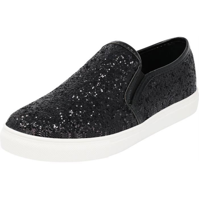 Women's Taille Encrusted White Jppv6 Closed on Stretch Sneaker Slip Round Glitter 42 Sole Fashion Toe UOUxwrBq