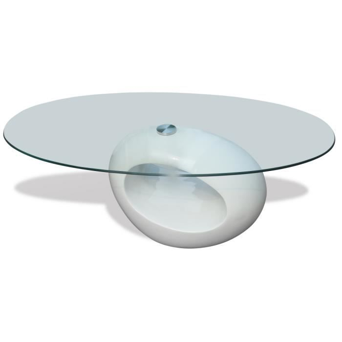 Table Basse Ronde Verre Blanche