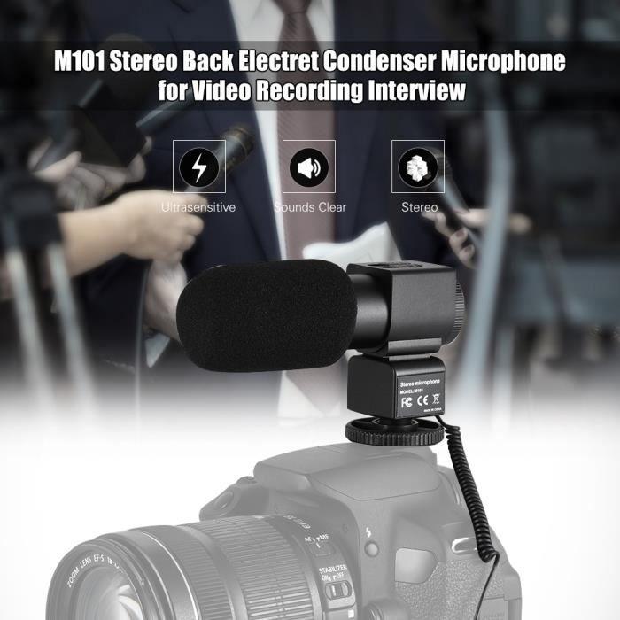 M101 Stéréo Microphone Condenseur De L'électret Arrière Avec Pare-brise Pour Canon Nikon Sony Et Autres Dslr Caméras