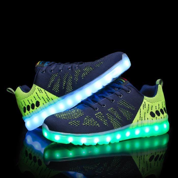 Homme chaussures Loisirs Baskets LED 7 Couleur USB Chaussures de sport DpdRj1gSYI