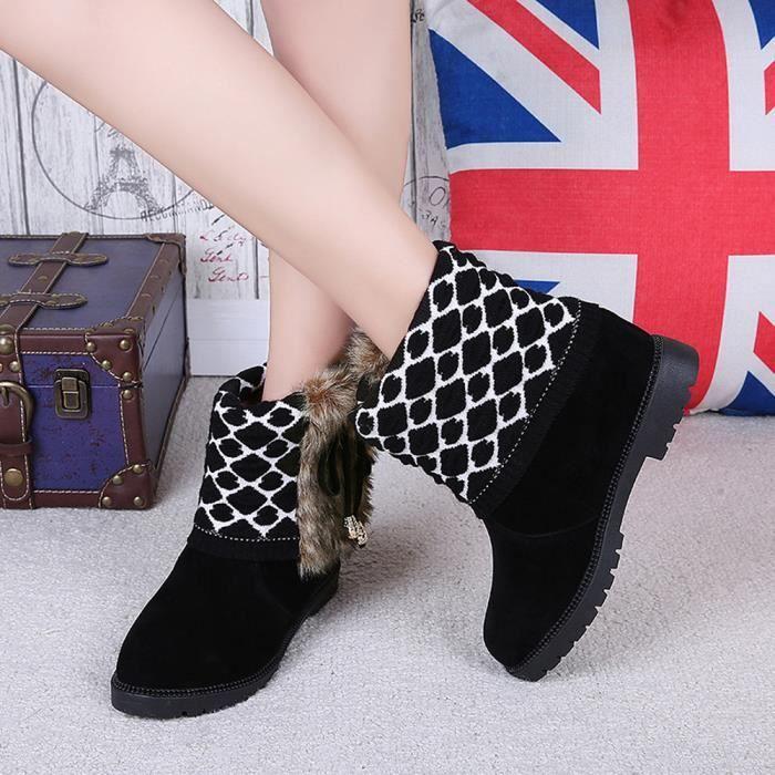 Cheville Noir Plat Chaussures Plate Neige Femme forme Chaud Bowtie De La Mode À Slip Bottes RpaCwqEx6p