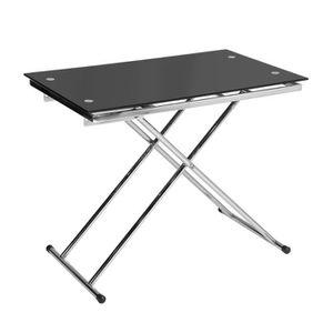 TABLE BASSE UP & DOWN Table basse relevable en verre trempé no