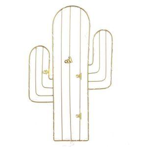 PÊLE-MÊLE PHOTO Pêle-mêle cactus avec LED - 4 pinces - Doré 44 cm