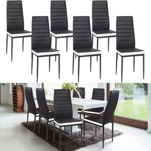 CHAISE Lot de 6 chaises ROMANE noires bandeau blanc pour