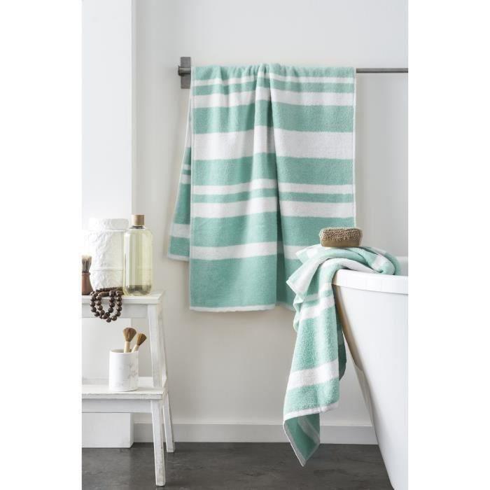 Matière : 100% coton peigné - Dimensions : 70x140 cm - Grammage : 500 gr/m² - Coloris : vert menthe et blancPARURE DE BAIN