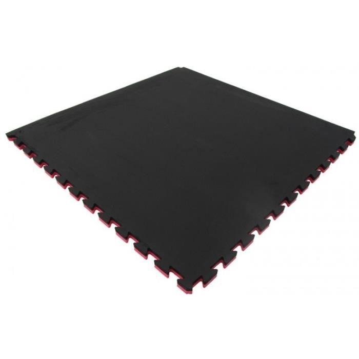 Tapis à pièces de puzzle - Epaisseur 2 cm - S'utilise des deux côtés - Rouge/NoirTAPIS DE SOL - TAPIS DE GYM - TAPIS DE YOGA
