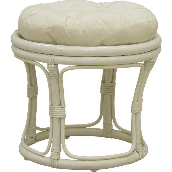 Tabouret en rotin blanc avec coussin coton 40x35cm   Achat / Vente