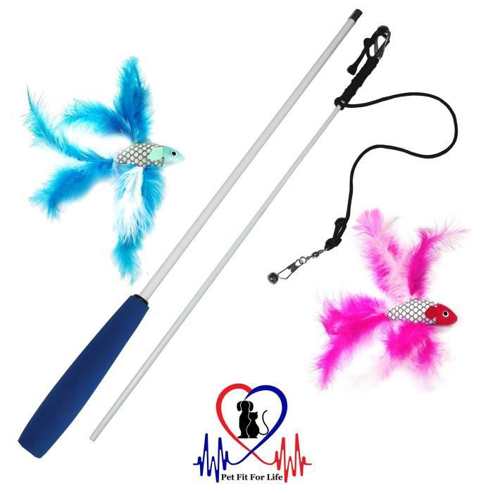 2 Fish And Feather Teaser Exerciser For Cat Kitten - Toy Interactive Wand Zbu7v