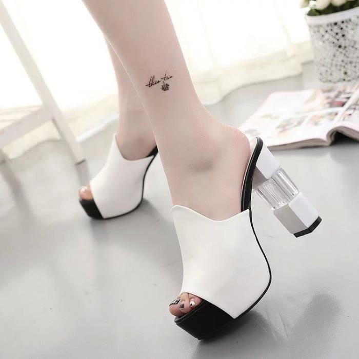 Eté Femmes Mules Sandales Talon Haut Plateforme Peep Toes Talon Cristal Chaussures Chunky noir TAILLE 37 DV7u0FmRW2