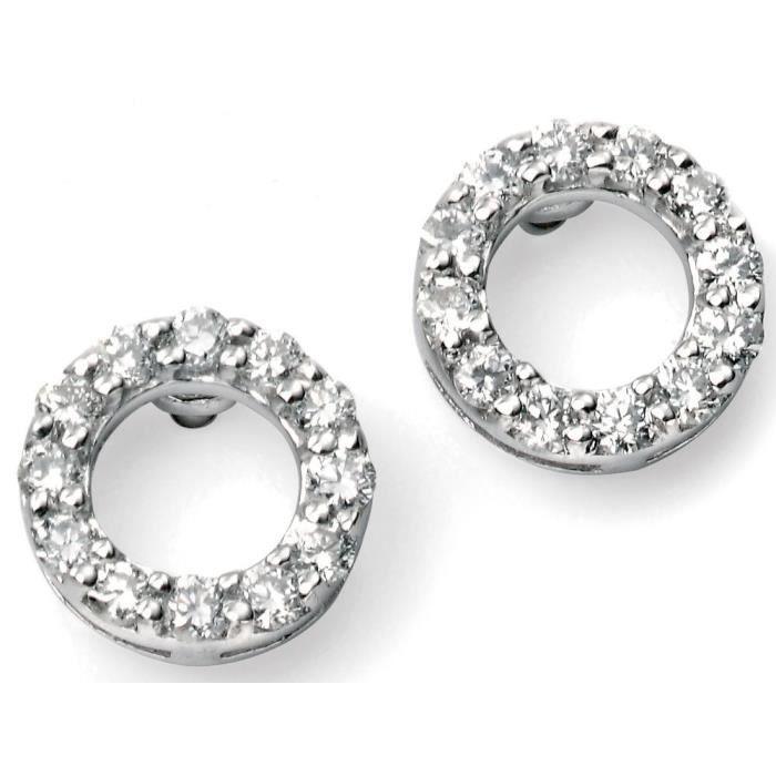 D968a - Boucle doreille diamant en Or blanc 375/100