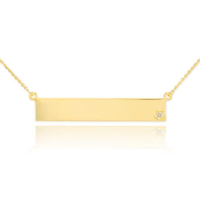 Pendentif14 ct Or 585/1000chaîne de Bar nom gravé Diamants AVEC