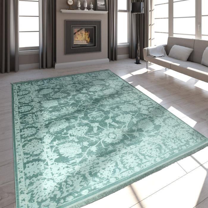 Tapis Qualite Salon Moderne Effet Satin Baroque Design Franges Vert Menthe