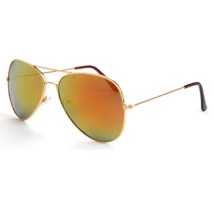 Hot Sale Produits masculino Lunettes de soleil unisexe Hot Vente Lunettes de soleil aviateur réfléchissant Objectif dor Golden Fram