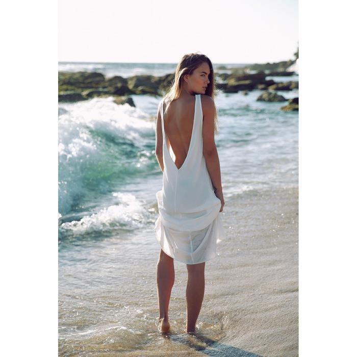 f877e278110 Dos caftan Longue De Rond Robe Blanc Taille tunique V Sans Maxi Nu D été  Pla…