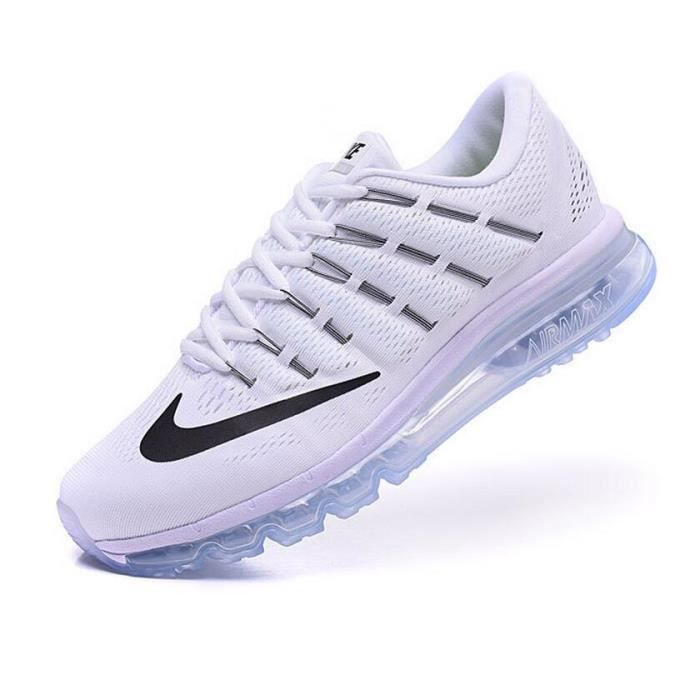 low priced 3e6f9 20e38 Hommes Nike Air Max 2016 Chaussures de running blanc complet et noir ...