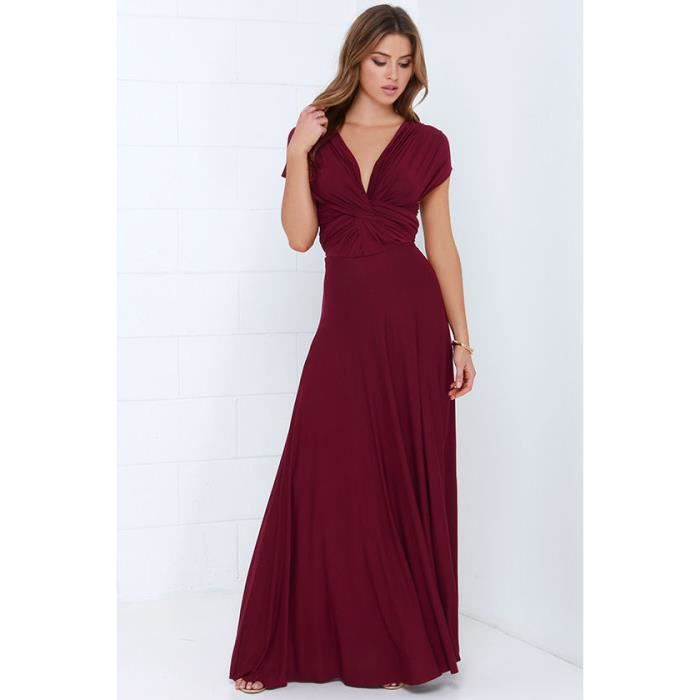 cb03cf8db68 Robe de soirée cocktail robe de plage femme haute taille sexy longue  élégante moderne multi - fonction rouge vineux