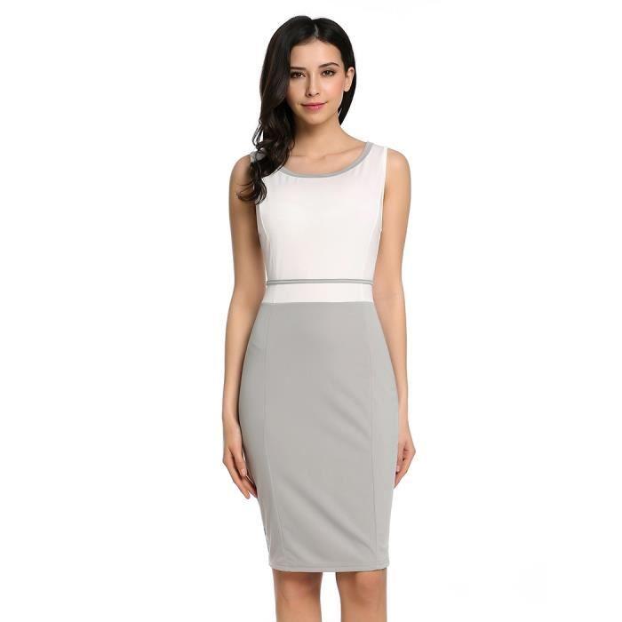 robe Casual O-cou sans manches Patchwork contraste couleur arrière divisé élastique mince Tank