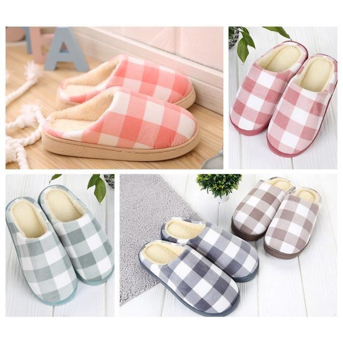 Chaussons Couple Home Slippers Pantoufle Plaid Coton Doux Chaud Antidérapant Carreaux Elégant Chaussure Amoureux Maison- Bureau lNf7OvlY