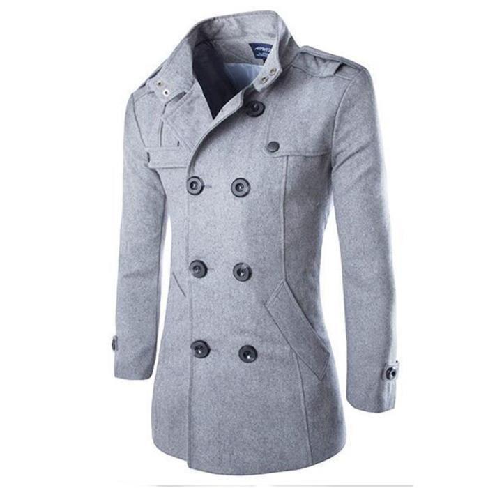 Manteau fausse fourrure grise a capuche