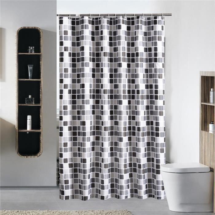 Noir + blanc + gris Treillis Baignoire Rideau de douche en tissu de ...