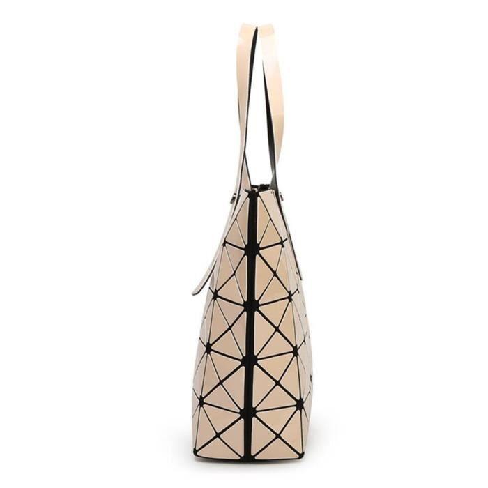 Mode géométrique Tote brillant Pu Sac bandoulière en cuir Sacs à main Top-manche DKU0E