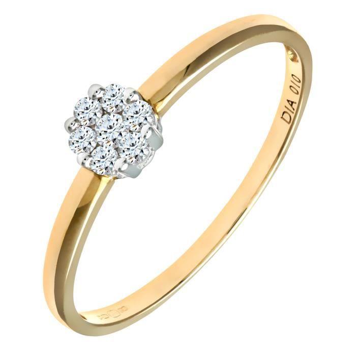 Revoni Bague Diamant Or Jaune 375° Femme: Poids du diamant : 0.1 ct - CD-PR09122Y-N