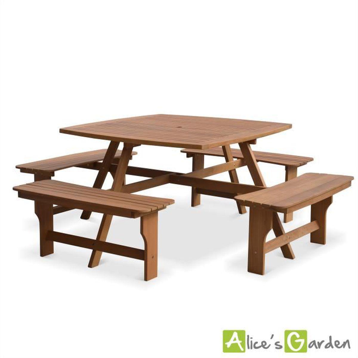 Table de pique nique Llanca 120cm carrée avec 4 bancs, salon de ...